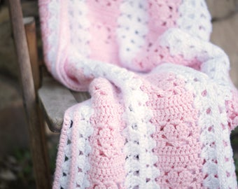 Vintage Crochet Baby Blanket/Light Pink White Handmade Blanket/Baby Afghan Quilt/Pastel Pink Girl Nursery/Newborn Photo Prop/Baby Shower