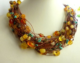 Linen Necklace Elegant-Brown-Yellow -Amber Necklace
