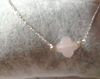 Opal silver necklace with pink treifle