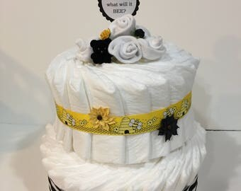 """Gender Reveal """"What Will It Bee"""" Two Tier Diaper Cake with Two Pair of White Sock Roses! Perfect for a Gender Reveal Party! Gift Wrapped!"""