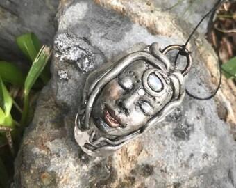 Clear Quartz and Moonstone Goddess Pendant