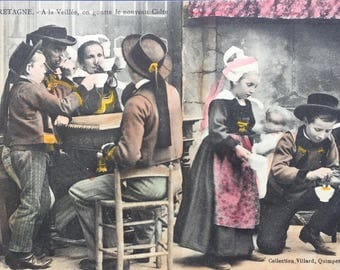 Antique French photographic postcard, the cider harvest, Bretagne, Collection Villard Quimper, hand colored