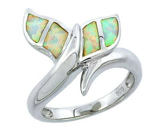 Sterling Silver Blue Opal Whale Tail Statement Ring