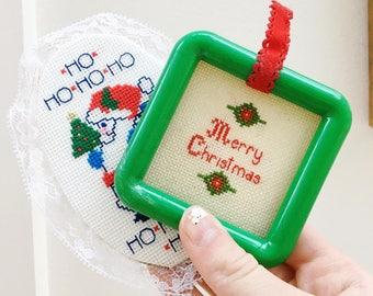 Vintage Christmas Ornaments, Set of Two, Vintage Cross Stitch Ornaments, Vintage Christmas Tree Decor, Vintage Christmas Decor