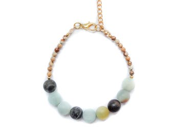 Gemstone Bracelet, beaded bracelet, gypset bracelet, boho bracelet, friendship bracelet, natural stones bracelet amazonit