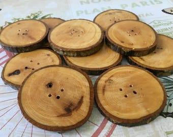 Large Wooden Tree Branch Buttons Wooden Buttons Branch Buttons Unique Wood Buttons Handmade Wooden Buttons Rustic Buttons Eco Natural Button