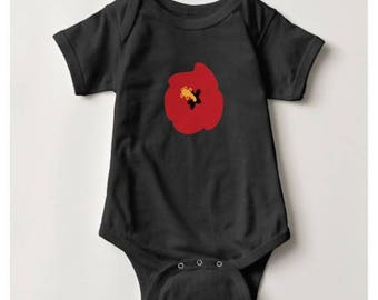Summer Red Hibiscus Baby Bodysuit_Black