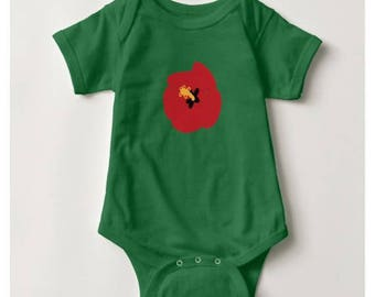 Summer Red Hibiscus Baby Bodysuit_Kelly Green