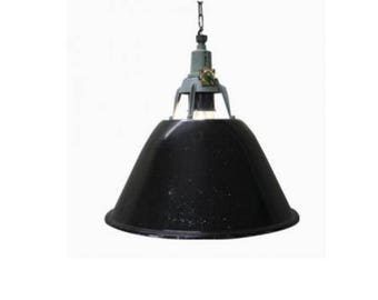 Large black enamel factory lights - large industrial lamps - large black enamel pendant lights - vintage industrial factory lights - vintage