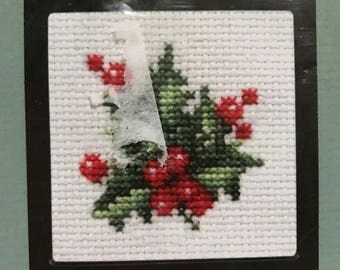 CHRISTMASINJULY Counted cross stitch holly kit