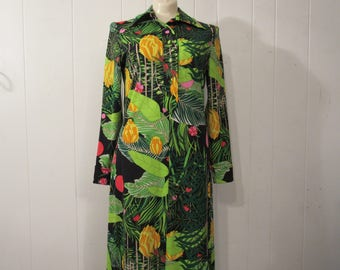 Vintage dress, 1970s dress, jungle flowers, maxi dress, vintage clothing, medium