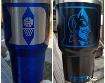 Custom No Decals! Duke Blue Devils YETI Rambler 30oz. Blue All Powder Coat