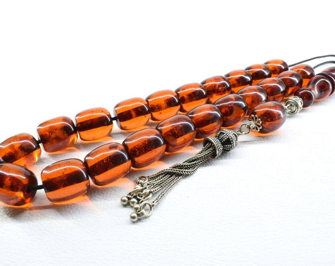 Cognac Amber color Komboloi, Chain Tassel, Worry Beads, Greek Komboloi, Relaxation, Gift for Men, Stress Relief, Tesbih, Anniversary Gift