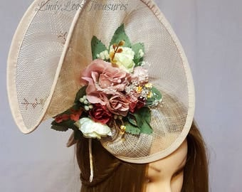 OOAK, Pink Wedding Hat Fascinator, Sinamay Hat Fascinator, Bridal Fascinator, Wedding Fascinator, Derby Hat, Melbourne Cup