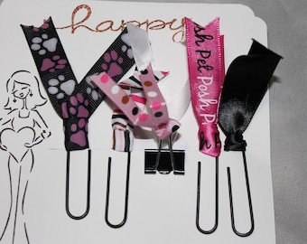 Planner Clips, Planner accessories, Happy Planner clips,  PETS, Diary accessories, Ribbon Planner Clip, journaling, SET of 5