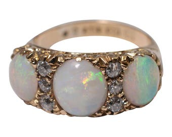 Victorian Opal and Diamond Three Stone Ring