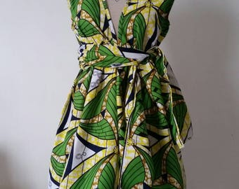 Ethnic print colorful wax yellow and green dress