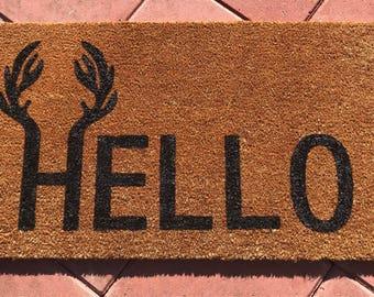 Hello-Antler Coir Door Mat