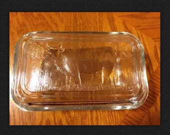 "Vintage Arcoroc France Bull Country Scene Lidded Glass Refrigerator Dish 6"" X 3"""