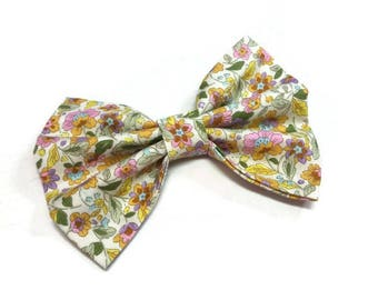 Dog floral bow tie , yellow orange pink bow ties , for cat , for ring bearer kids dog matching outfit