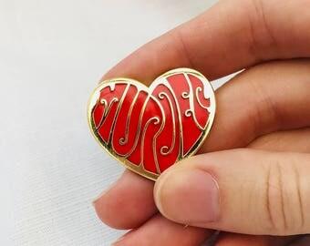 Handmade gifts etsy true crime lover enamel pin my favorite murder enamel pin murderino gift heart negle Gallery