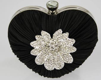 Gorgeous Satin Rouched Brooch Heart Hard Case BlackEvening Bag - Bridal Prom