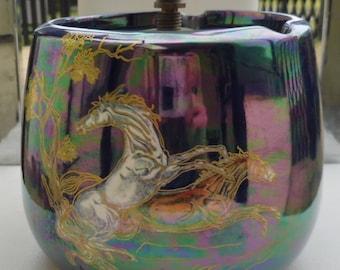 """Vintage Crown Devon Fieldings Blue Lustre """"Pegasus"""" Humidor."""