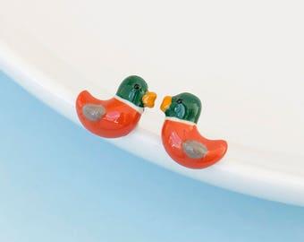 Mandarin Duck Earrings in 925 Sterling Silver post