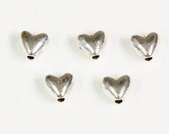 20 beads 6mm silver heart