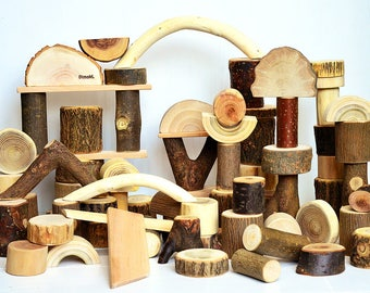 Natural wooden kids toy, Set of 75 tree building blocks, Personalized wood toy, Montessori inspired toy, Birthday gift, Waldorf education