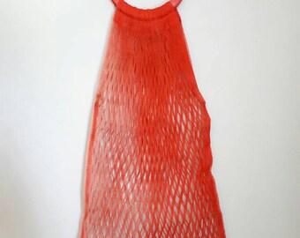 Vintage Red Nylon String Bag
