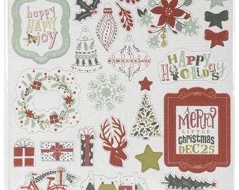 My Minds Eye - Cozy Christmas Collection - 12 X 12 Adhesive Chipboard  - Elements