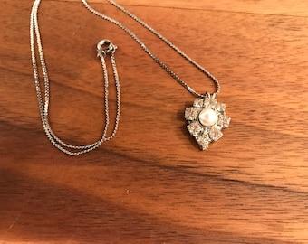 Vintage Rhinestone and Faux Pearl Pendant