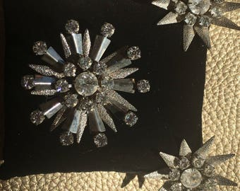 Vintage Brooch and Clip Earring Set
