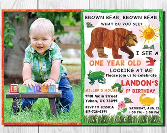 Brown Bear Invitation With Photo, Brown Bear Birthday, Brown Bear Photo, Brown Bear Invites, Brown Bear - Brown Bear Party Invitations