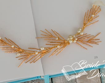 Pearls and Crystals Bridal Wreath, bohemian headband, wedding hair vine