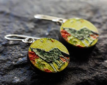 Howling wolf earrings | Wolf jewellery | Sterling silver earrings | Painted yellow lightweight embossed wood earrings | Wolf floral earrings