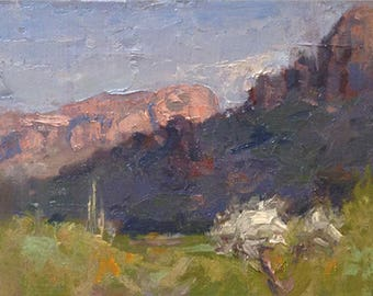 Very Superstitious, Original Landscape Oil Painting by René, Fine Art Paintings, Desert Painting, Wall Art, Arizona Painting, Original Art