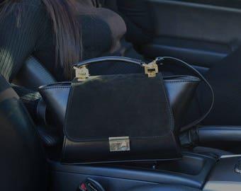 BLACK LEATHER HANDBAG, Womens leather handbag, Black leather shoulder bag, Handmade bag black leather, Black leather bag for women