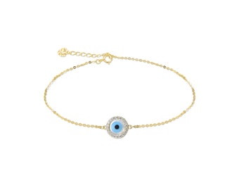 14K Solid Yellow Gold Cubic Zirconia Evil Eye Bracelet - Blue Good Luck Charm Rolo Chain Link