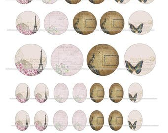 40 Digital Images 213 series - card cabochons - sending by mail postcard designs