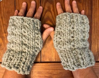 Hand Knit Fingerless Gloves, Soft Wool Gray Fingerless Mitts, Indoor and outdoor hand warmer gloves
