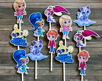 SHIMMER AND SHINE Cupcake Toppers / Cake Toppers / Die Cuts / Birthday Party / Decorations / Cake Pops / Supplies / Decor / Fast Shipping