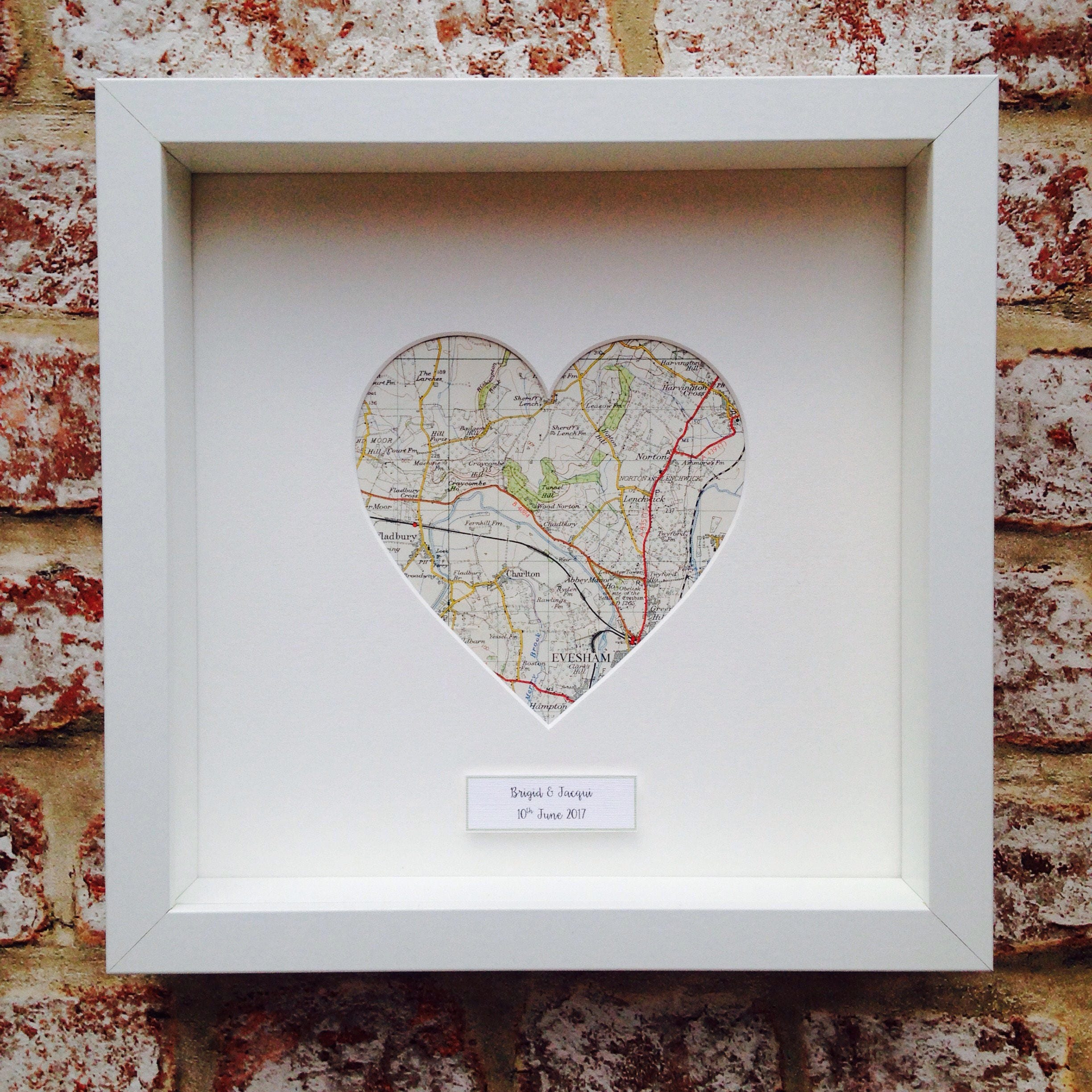 Personalised Map Heart Frame From Sherbetlemongifts On