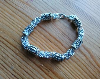 Rune Bead Byzantine Chainmail Bracelet Viking Norse Thor Odin Pagan Loki Asgard Medieval Heathen Futhark Freya Frigg Game of Thrones Mjolnir