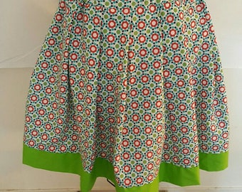 Lime/Blue/Red Print A-Line Skirt