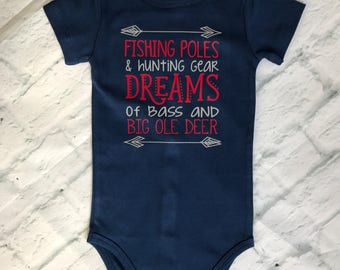 Fishing Poles and Hunting Gear baby boy onesie//Baby boy onesie//Hunting and fishing onesie//