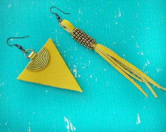 Yellow earrings, asymmetric earrings, boho earrings, triangle earrings,african earrings,statement earrings, leather earrings,ethnic earrings