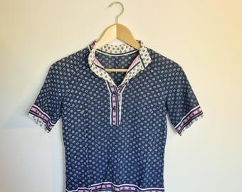 Printed, mock neck blouse