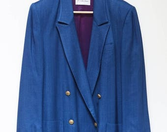ON SALE Vintage 1980s Blue Ladies JH Collection Blazer Gold Buttons--Womens Blazer Retro Jacket Shoulder Pads
